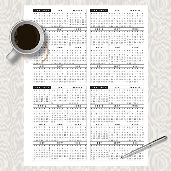 20192022 AtAGlance, OnePage Printable Calendar C.B