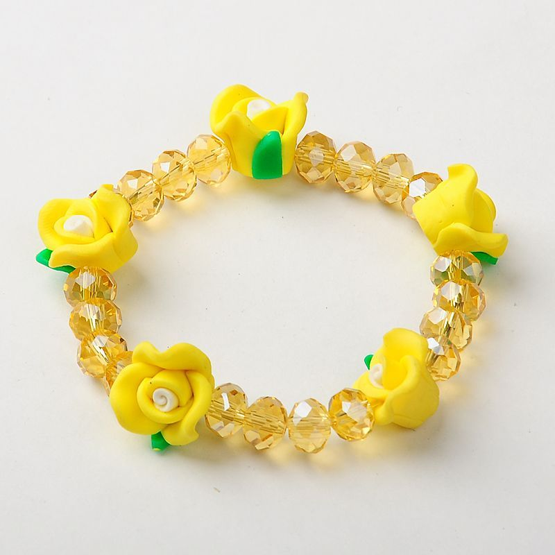 Handmade Polymer Clay Flower Stretchy Bracelets, with Glass Beads -- PandaHall.com