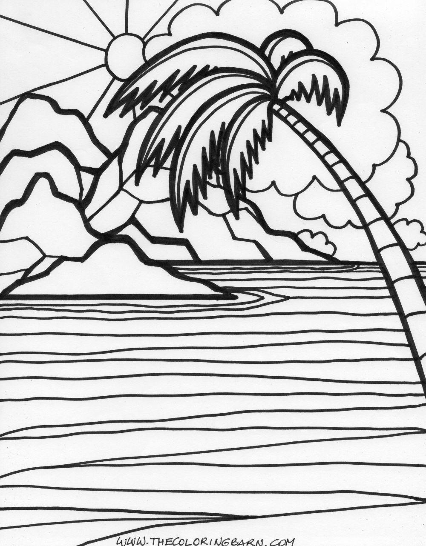 Island colouring page | transferencias | Pinterest | Dibujo