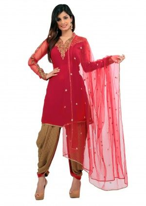 Magenta patiala suit with pita embroidery Rs 13,440