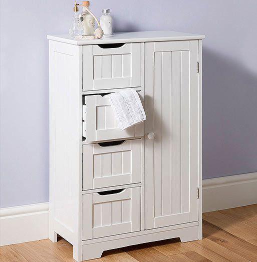 Wooden Storage Cabinet Cupboard Four Drawers White Freestanding Unit White Bathroom Storage Bathroom Standing Cabinet Bathroom Cabinets