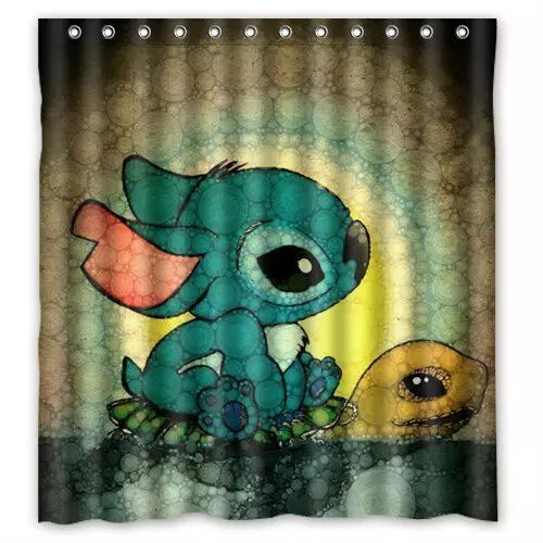 Custom Personalize Lilo Stitch Printed Fabric Shower Curtain Polyester Waterproof Bathroom Curtains With Custom Shower Curtains Custom Shower Lilo And Stitch