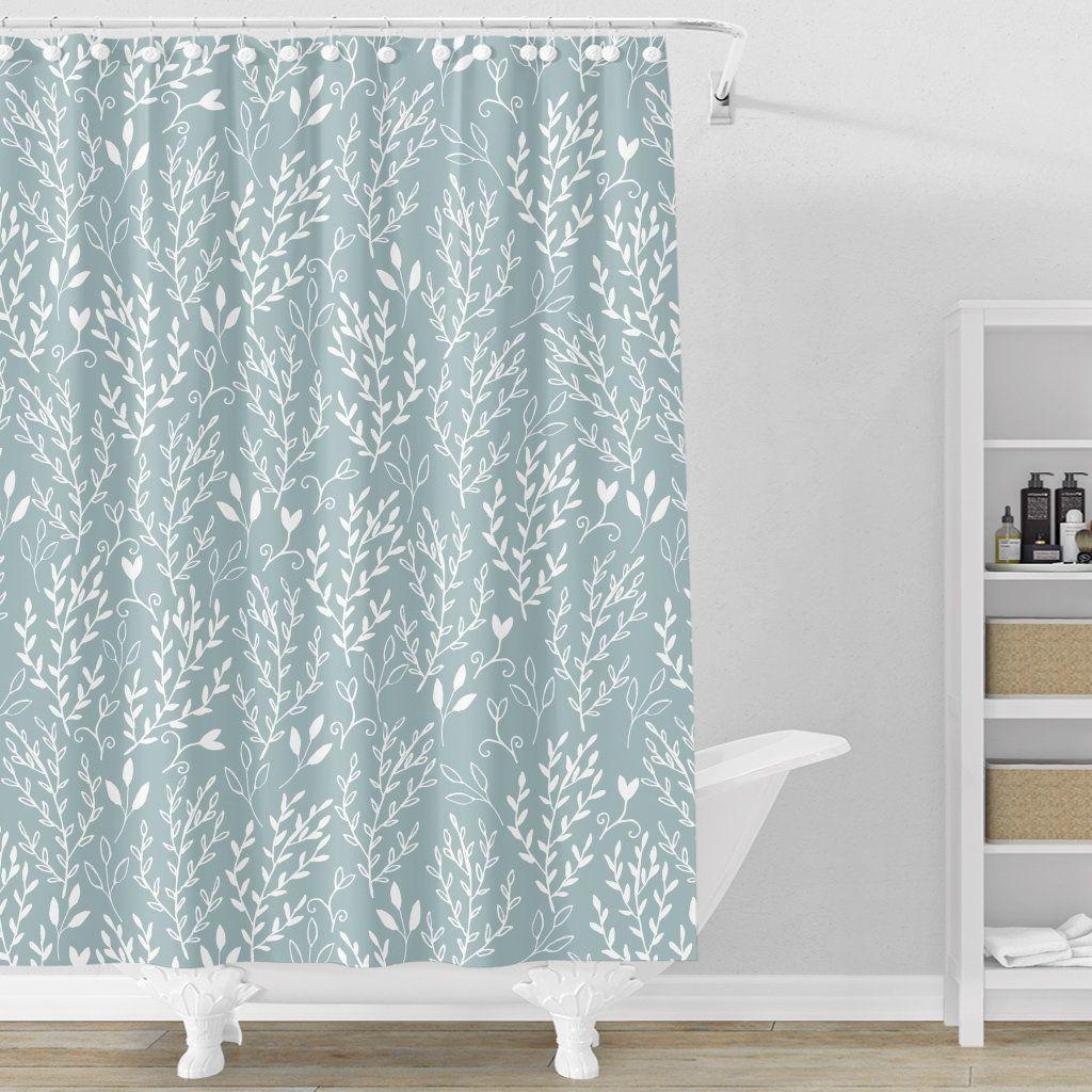 Sage Shower Curtain Floral Bathroom Decor Sage Leaves Shower