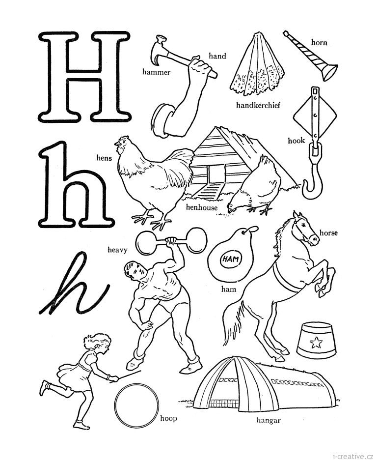 Letter H With Various Equipment Coloring Pages