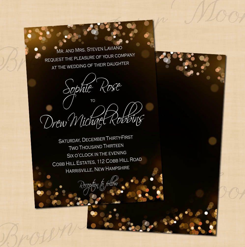 Champagne Bubbles Wedding Invitations (5x7): Text-Editable ...