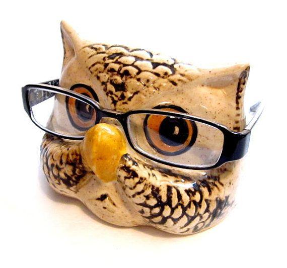 5b294d5ecf0 Vintage Eyeglasses Holder   Ceramic Owl Eye Glasses Holder   Stand   Cradle