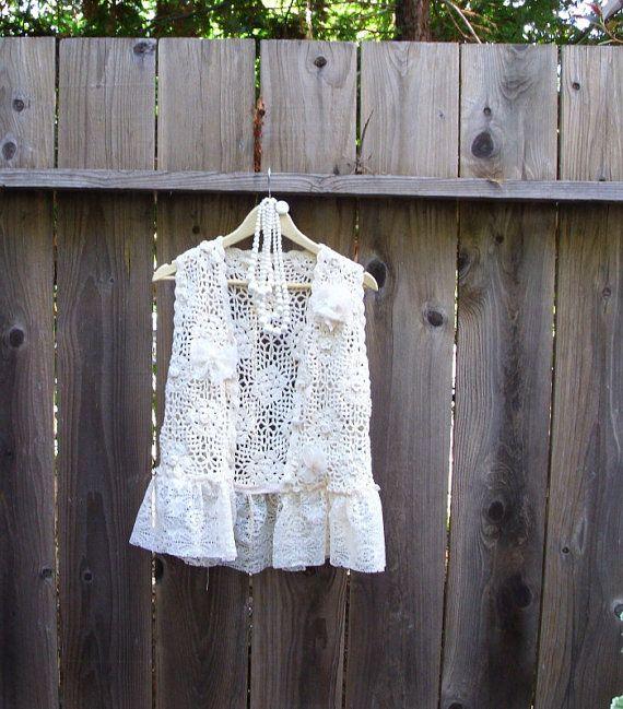 Sale Eco Fashion Funky Tattered Vest/ Shabby Chic by KheGreen