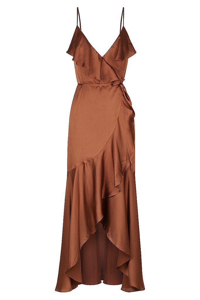ORO BIAS FRILL WRAP DRESS - MOCHA -   17 dress Wrap crosses ideas
