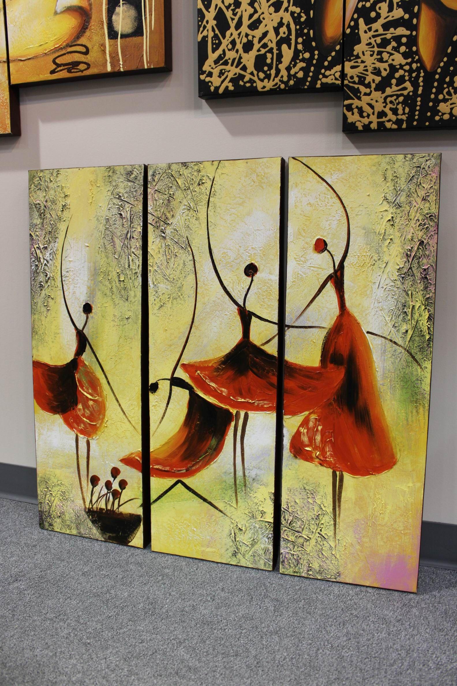 Red Ballet Dancers Painting, Original Modern Abstract Wall Decor Art ...