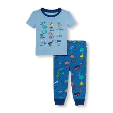 fbce0b43b Baby And Toddler Boys Short Sleeve Bug Family Top And Printed Pants ...