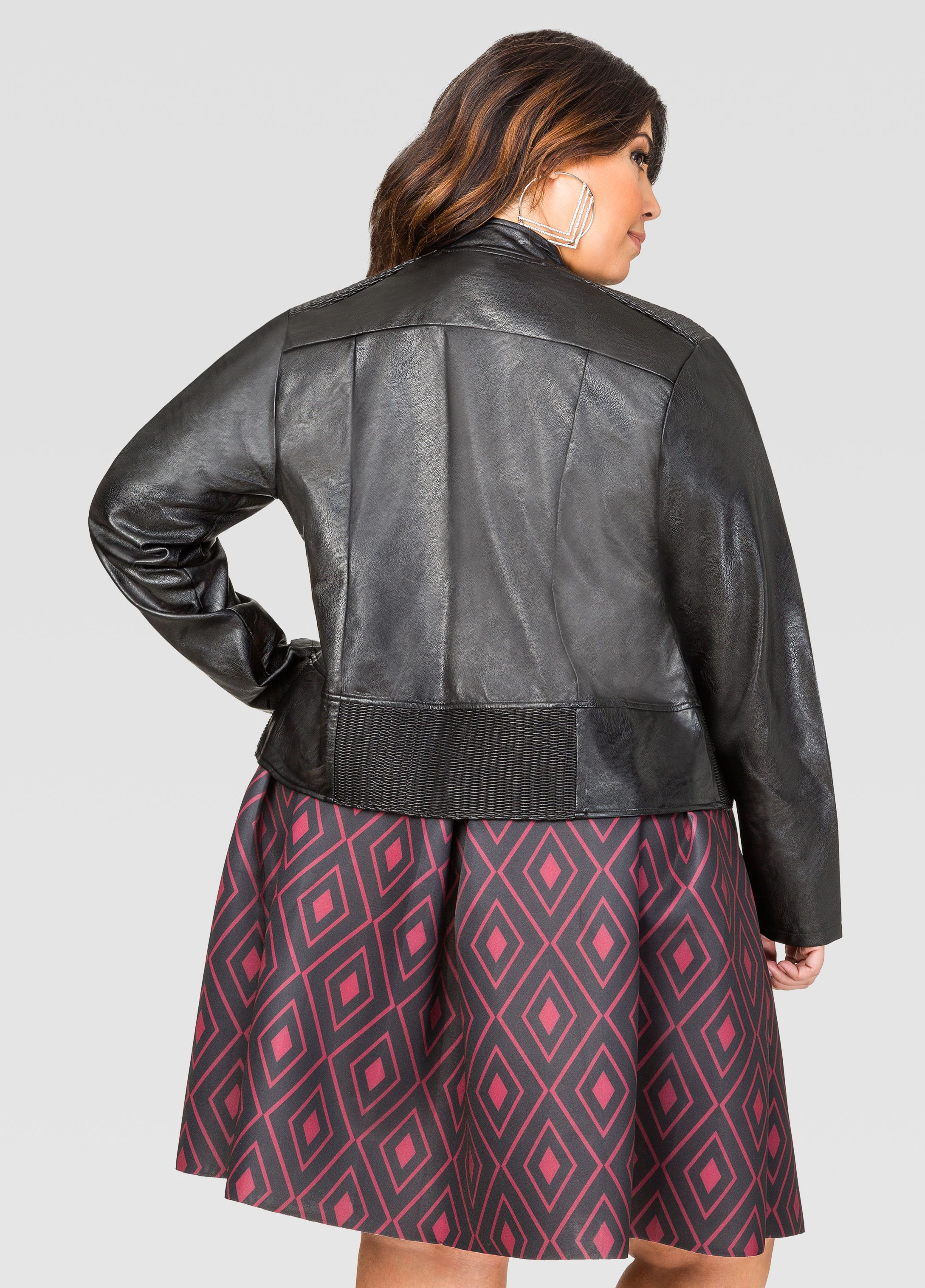 9dd70cbe99c96 Zip Faux Leather Jacket - Ashley Stewart