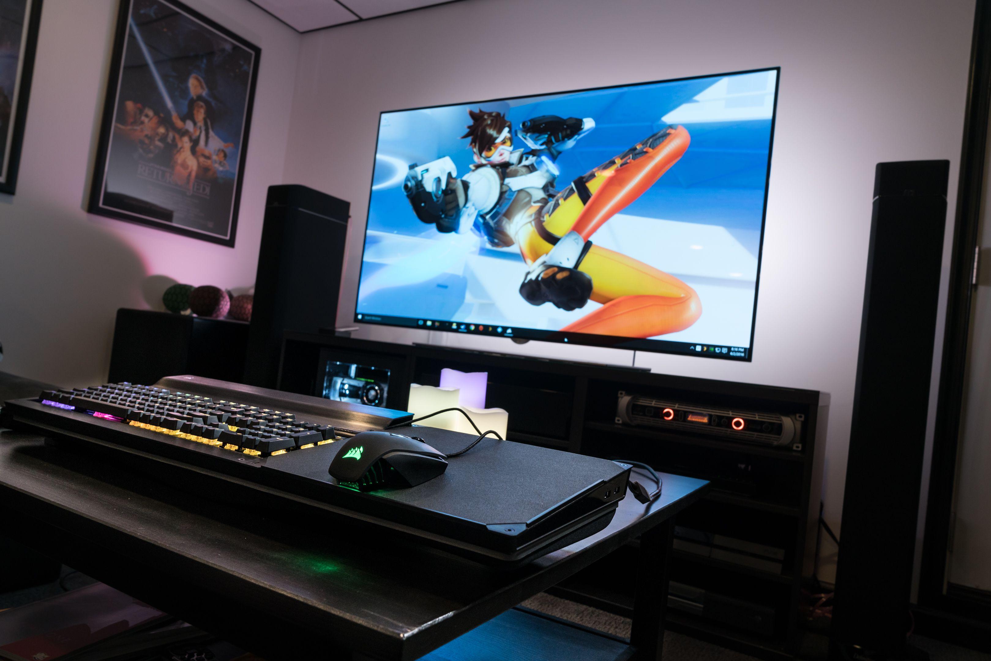 Corsair Lapdog 4K OLED GTX 1080 Battlestation   Gaming Setup