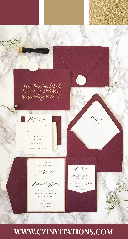 Burgundy And Gold Glitter Pocket Wedding Invitation Burgundy Etsy Burgundy Wedding Invitations Pocket Wedding Invitations Etsy Wedding Invitations