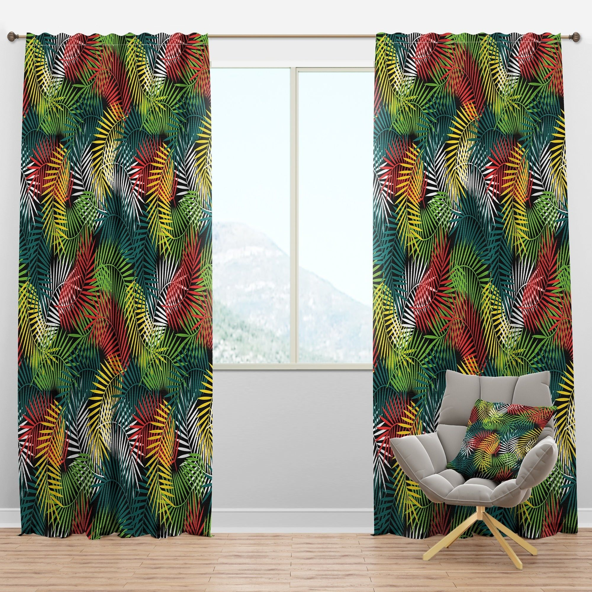 Designart Tropical Pattern With Stylized Coconut Palm Leaves