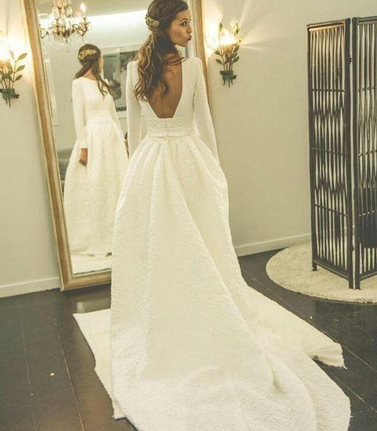 Long Sleeves Open Back Simple Free Custom Handmade Wedding Dress Elegant Prom Wd0250