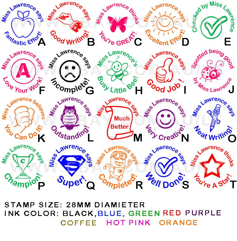 Personalised customised self pre inking teacher school student stamp round p1 crafts stamping stamps ebay