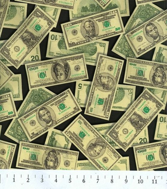 Black//Green Robert Kaufman Pleasures /& Pastimes Money Black//Green Fabric by The Yard