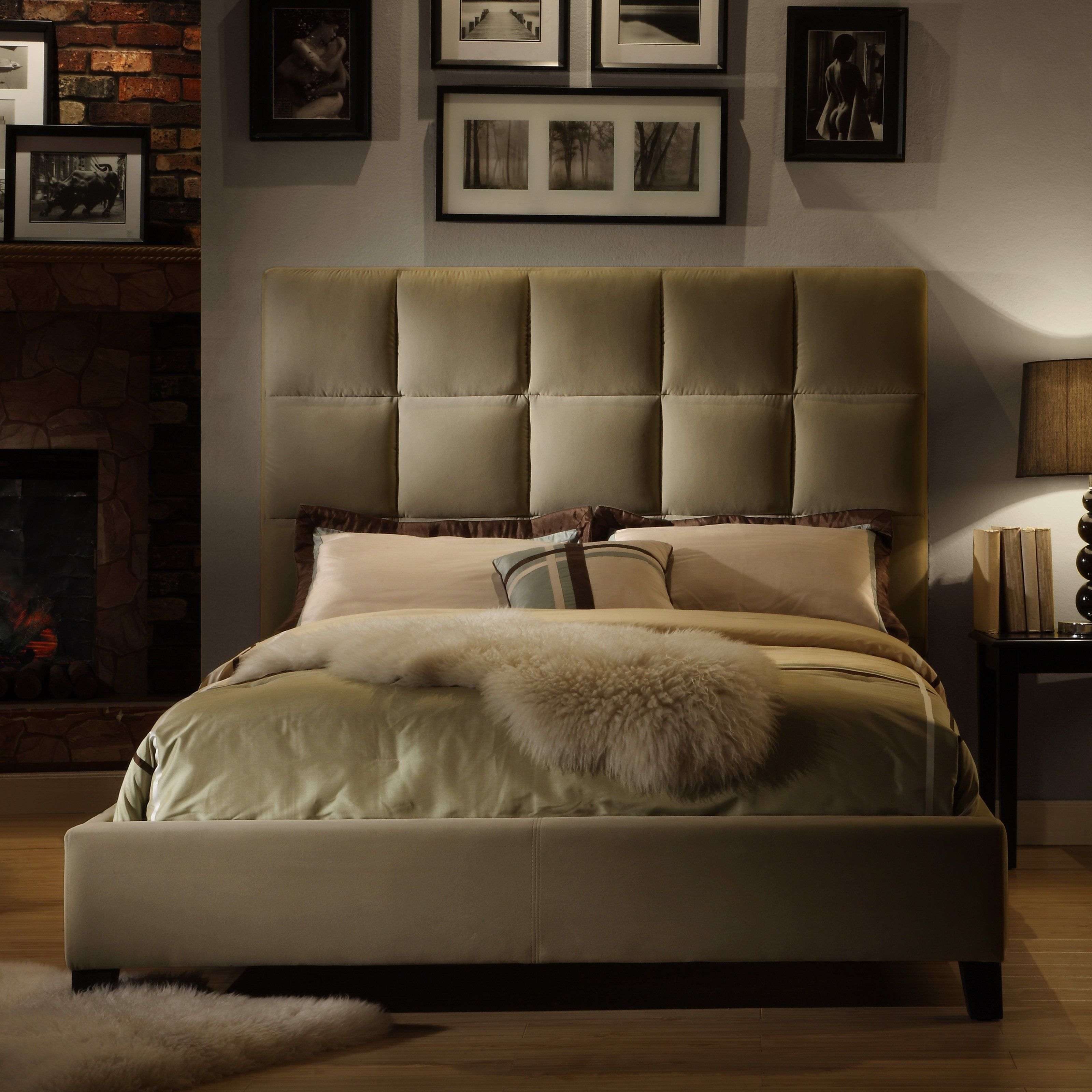 Fenton Squares Upholstered Low Profile Bed Velvet Taupe