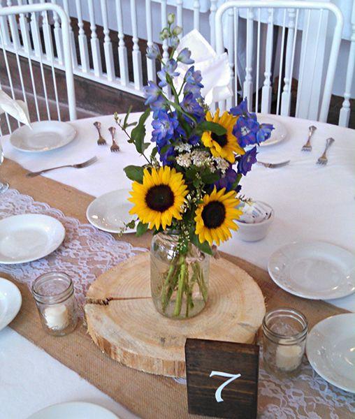 Sunflower and Delphinium Mason Jar Centerpiece | Our Fabulous ...