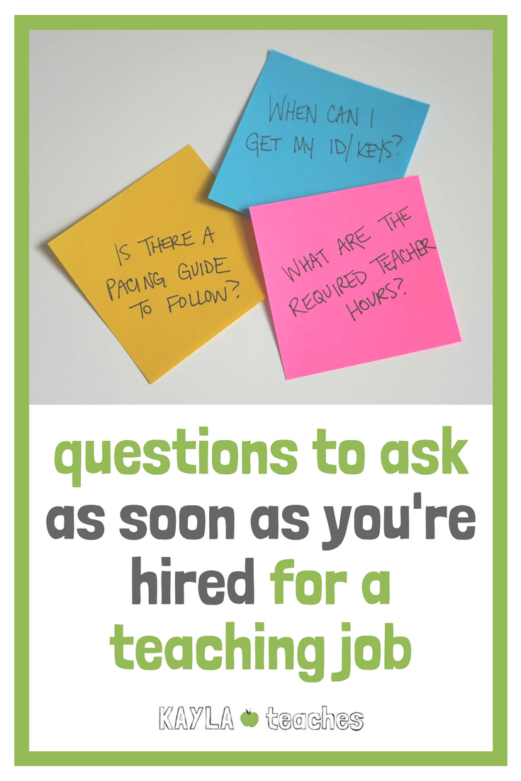 Questions to Ask Before Your New Teaching Job Begins ...