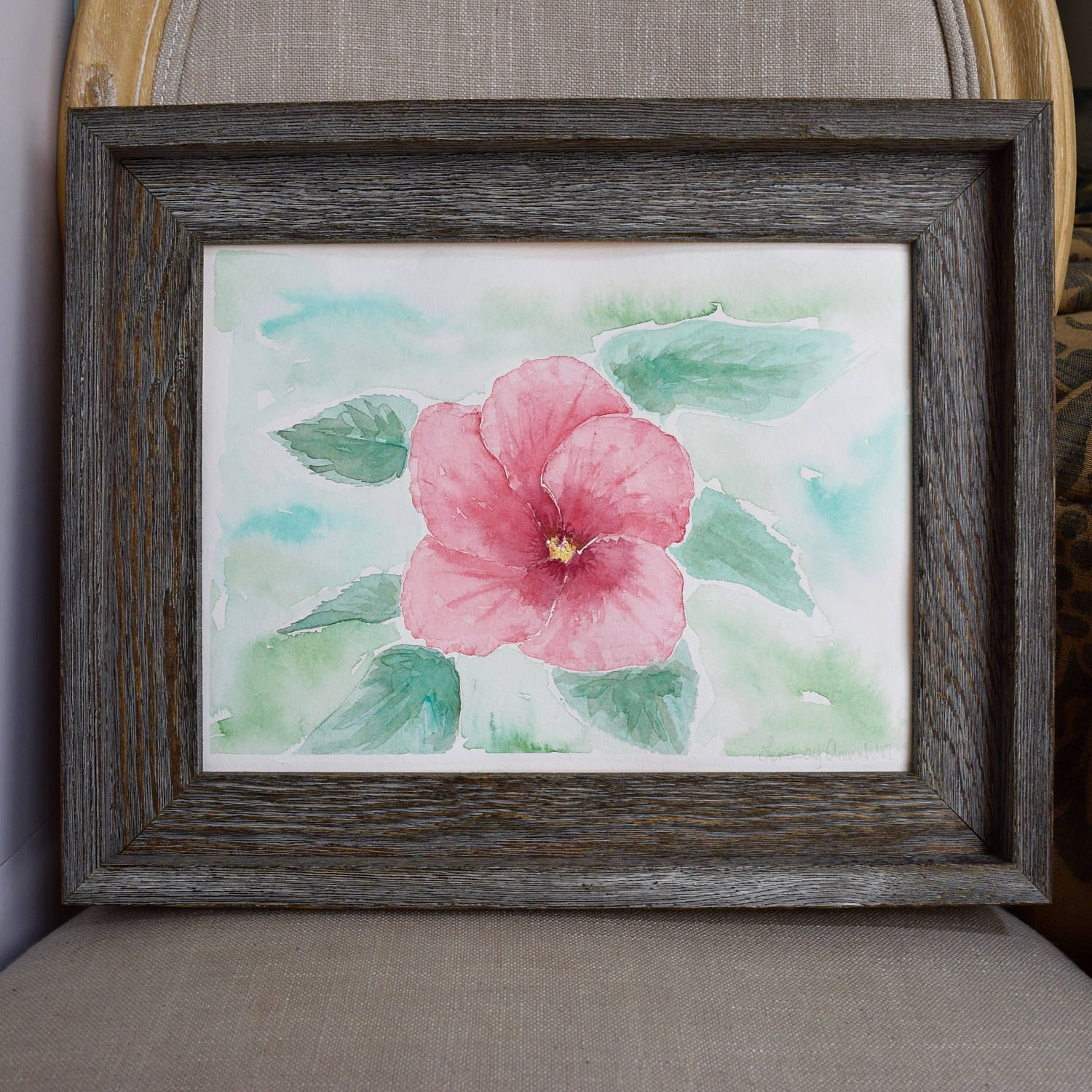Hibiscus Flower Watercolor Painting Original Watercolor Hibiscus