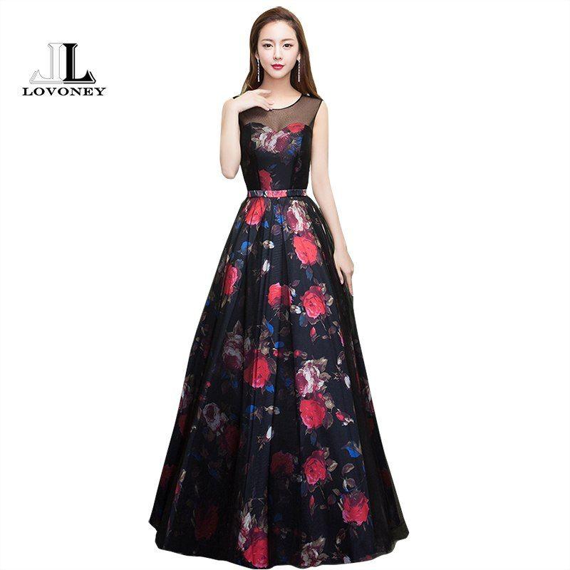 8bd7932a13 LOVONEY 2017 New Design Flower Pattern Elegant Evening Dress Long See  Through Back Formal Party Dresses Evening Gown M209