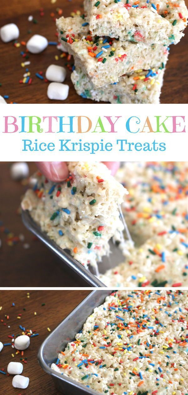Cake Batter Rice Krispie Treats • The Three Snackateers