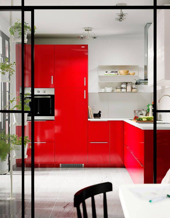 Cuisine rouge Decoração Pinterest - Photo Cuisine Rouge Et Grise