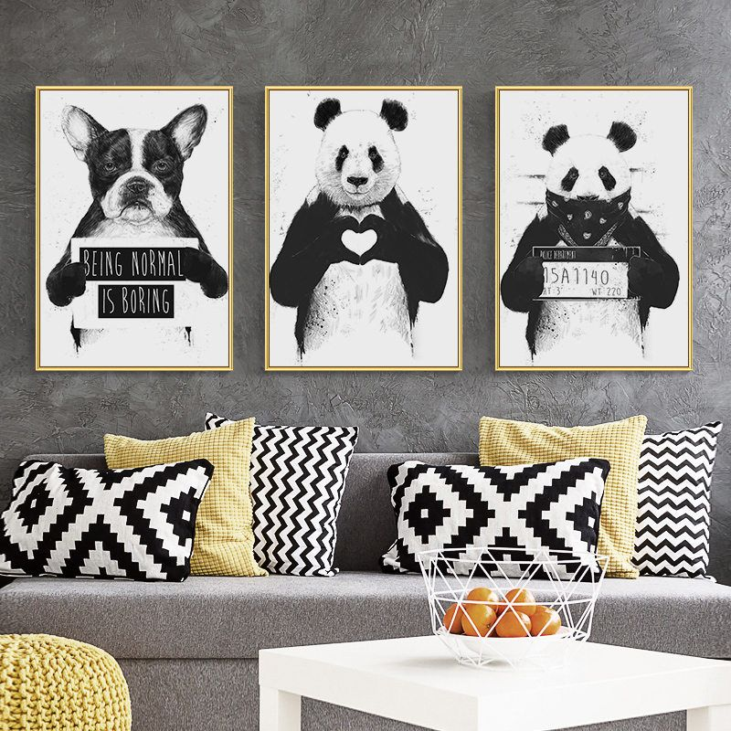 Nordic Canvas Painting Wall Art Cute Animals Poster Living Room Minimalist Black White Panda Boston