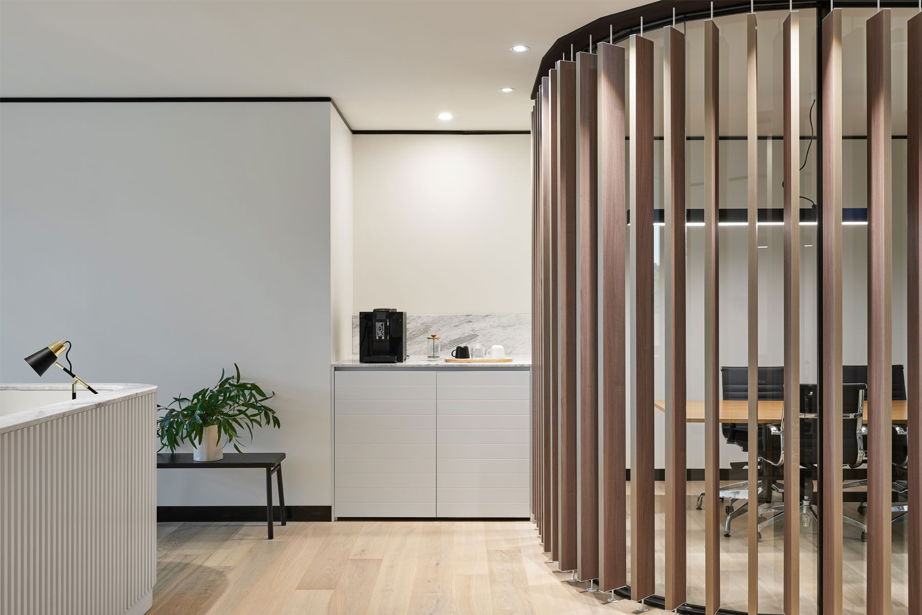 Stunning Use Of Timber Slat For Privacy In A Boardroom Office