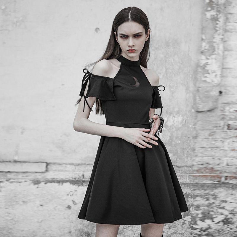 Punk Rave Black short-sleeved dress witchy cute goth irregular hem OPQ-316