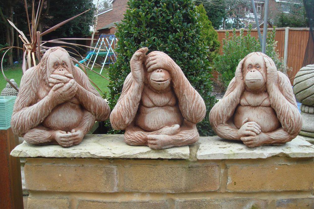 Set Of 3 Cast Stone Monkey Statues See Hear Speak No