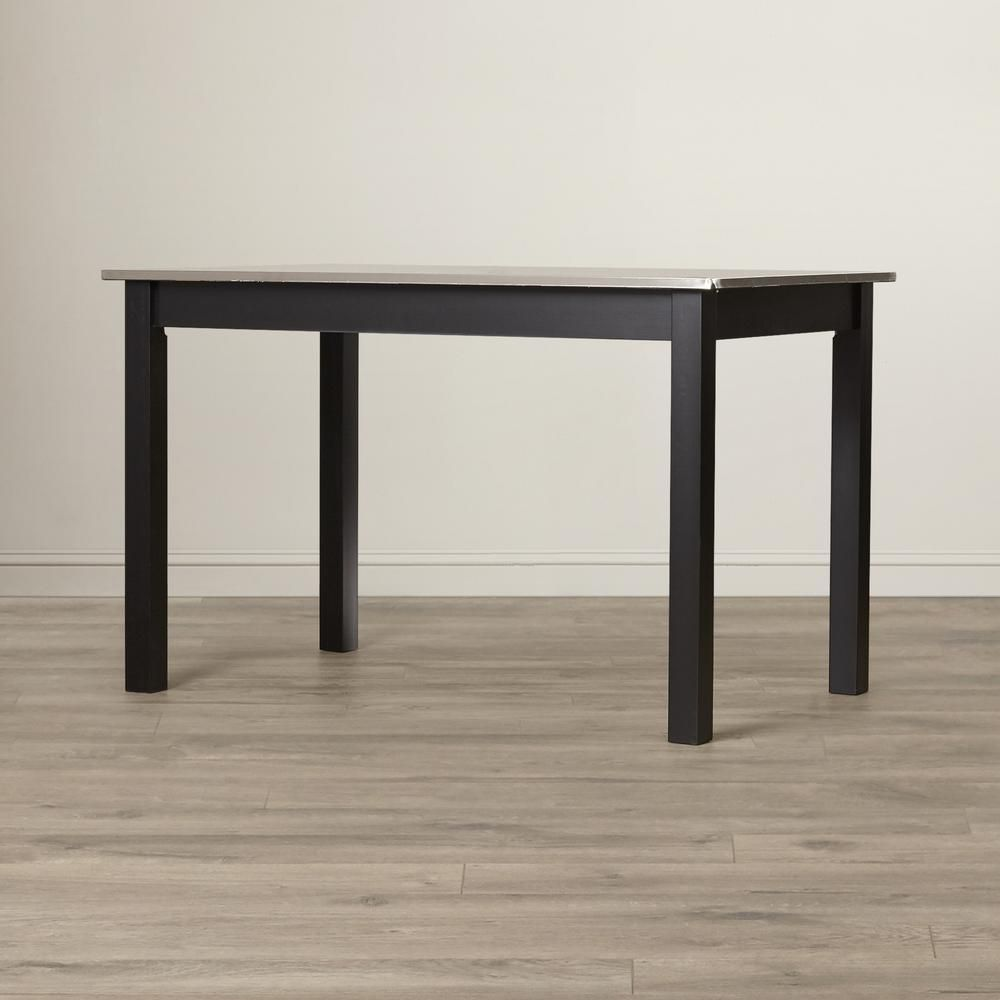48 in. L Carter Stainless Steel Top Table in Black, Stainless Steel Top Hand Finished Black