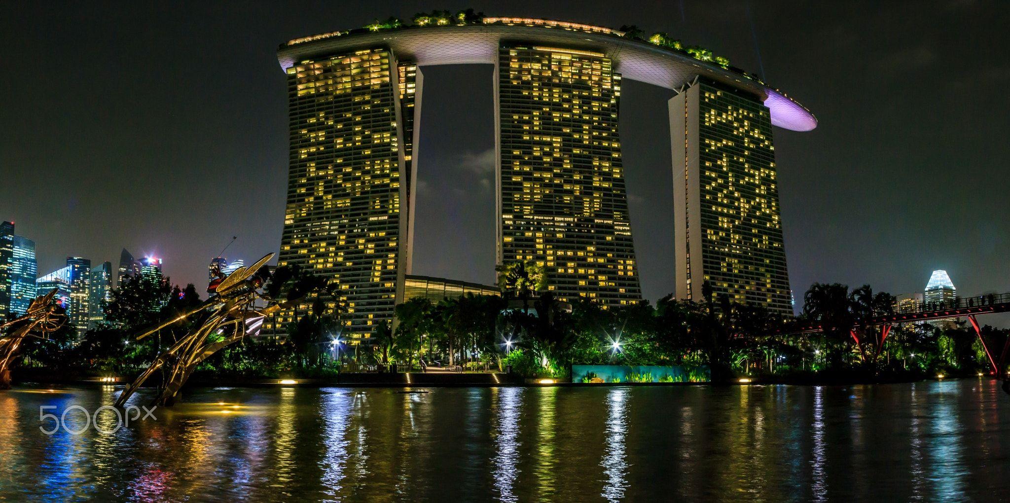Marina Bay Sands Night Panorama - Marina Bay Sands Hotel, Singapore ...