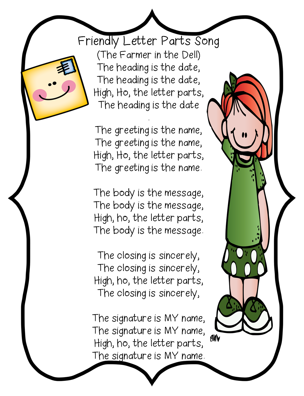 Friendly Letter Parts SongFirst Grade Wow  Literacy WriterS