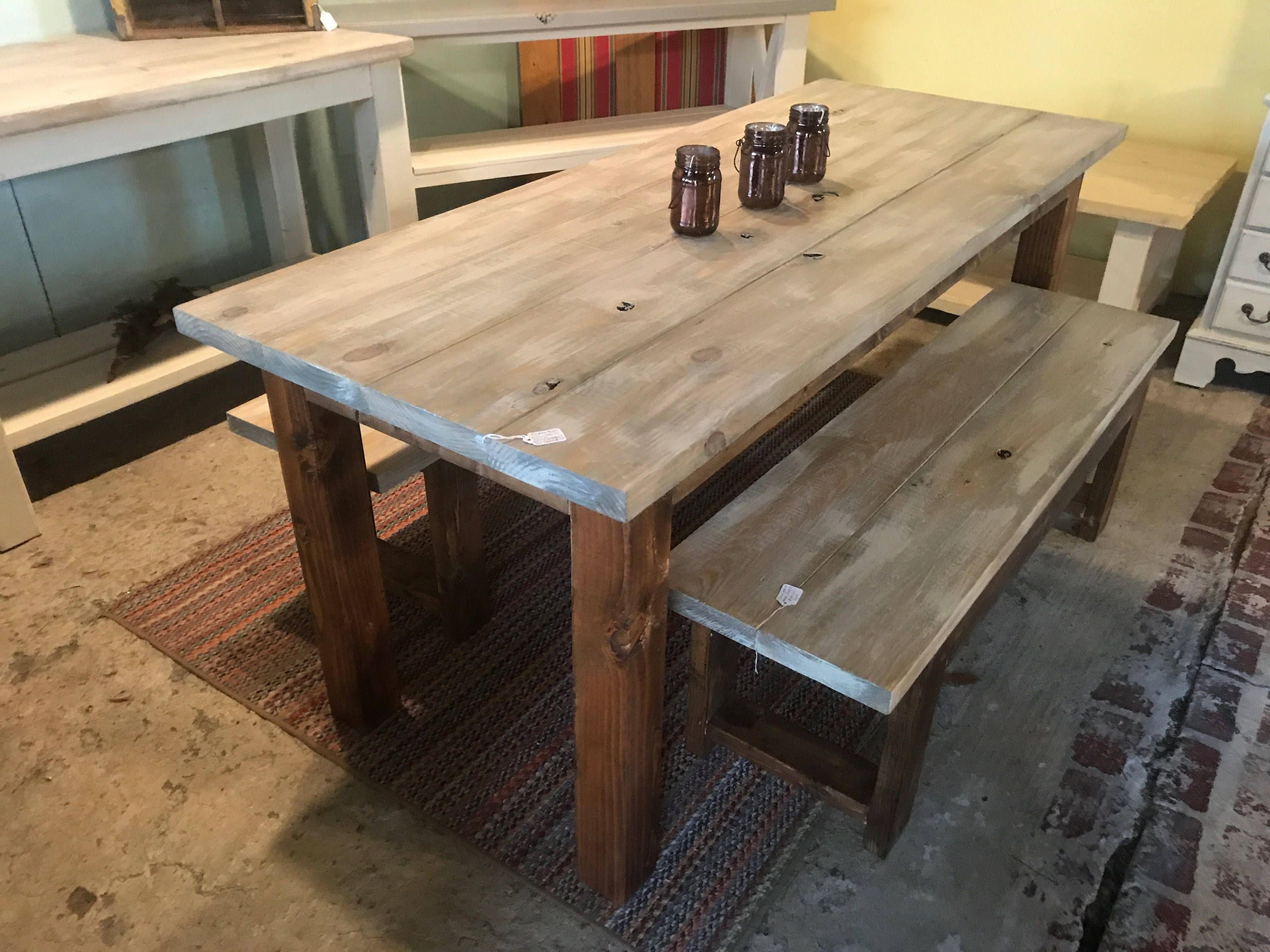 Rustic Farmhouse Table Set With Gray White Wash Includes Matching Benches Provincial Brown Base Dining Decor By Capefearcurbside On Etsy