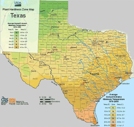 Texas Planting Zones Usda Map Of Texas Growing Zones