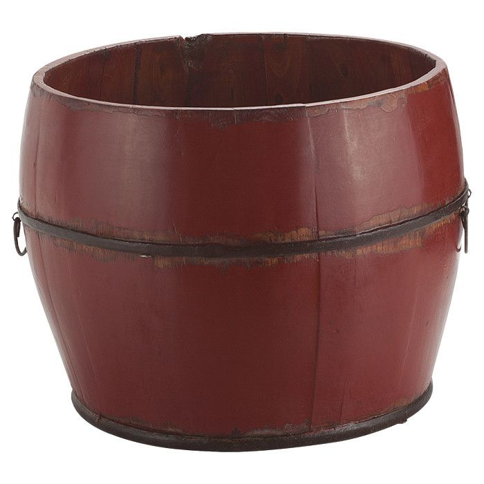 Barrel-shaped wooden bucket in red with two handles - perfect planter!  Fill it full of your favorite flowers or herbs.