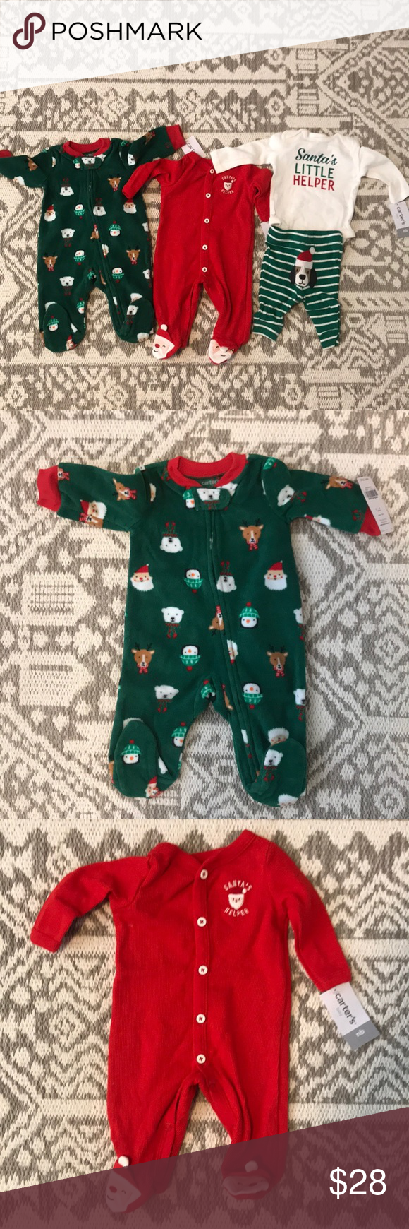 ba12fe338 BUNDLE Newborn Carter s Christmas PJ s NWT in 2018