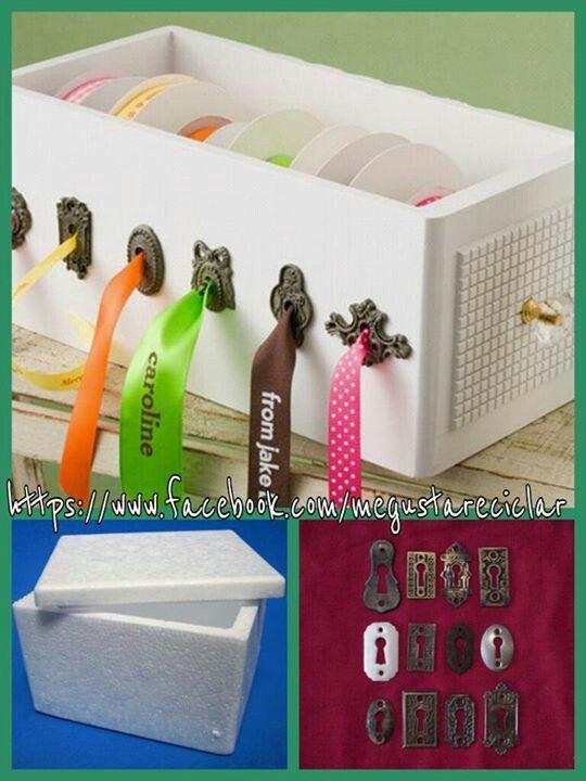wooden ribbon box by Melissa Frances. I love these but wish they had more keyholes. & Como guardar las cintas | Hazlo tu | Pinterest
