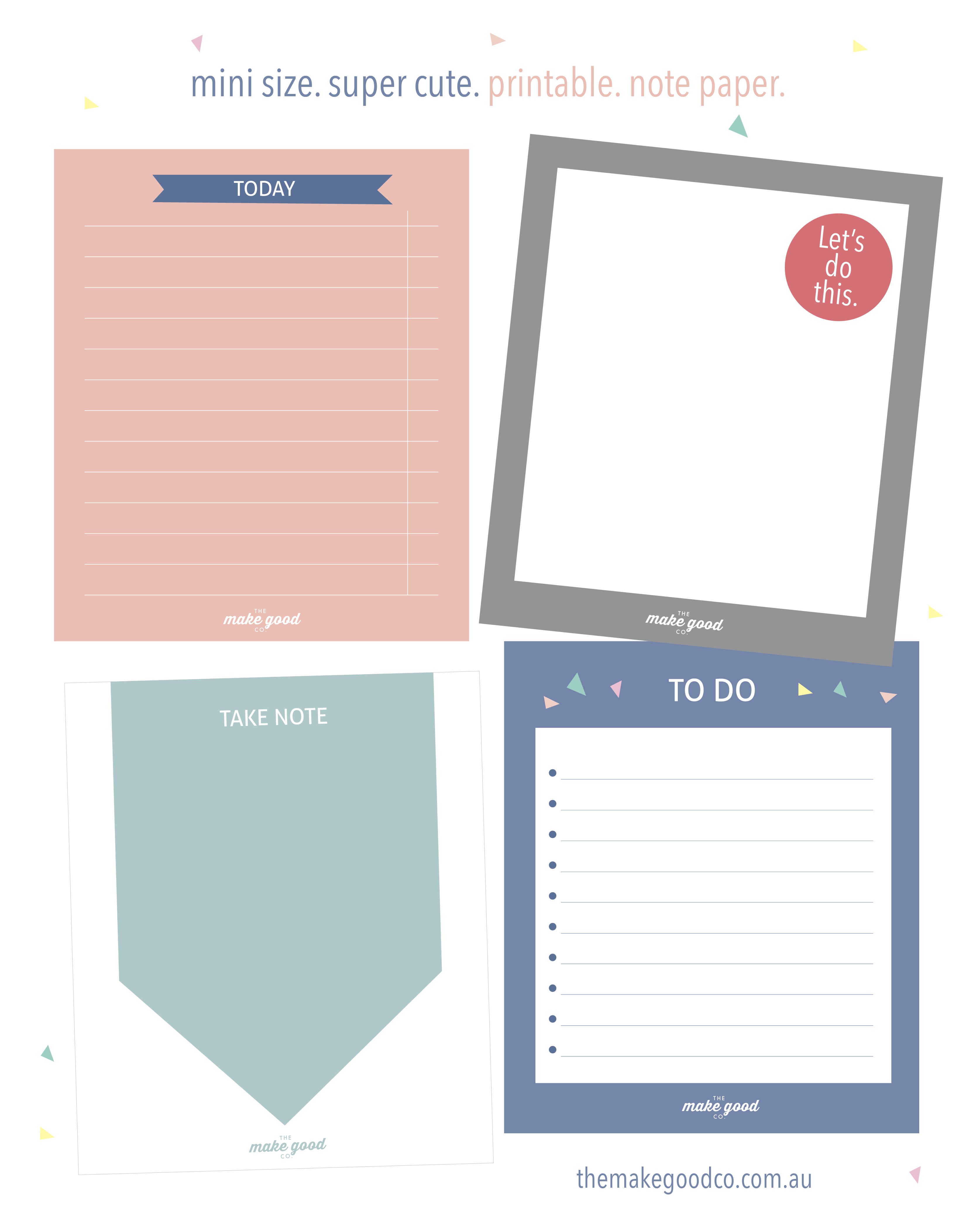 Free printable note paper for your planner instant