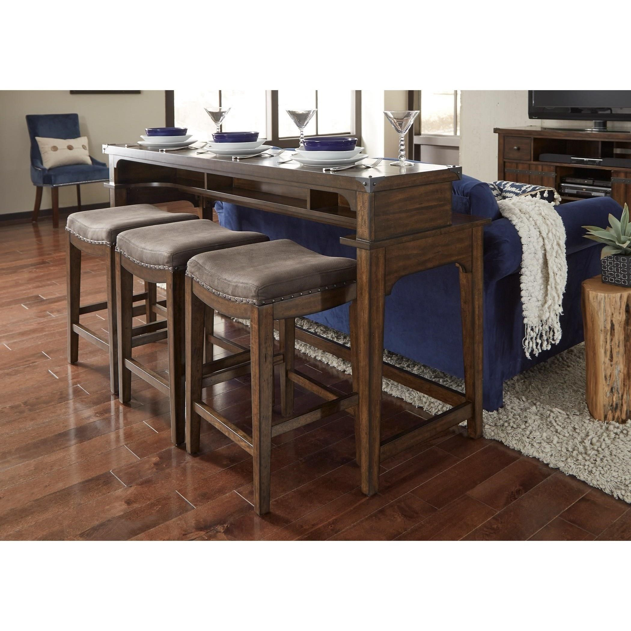 Aspen Skies Counter Height Sofa Table And Stool Set By