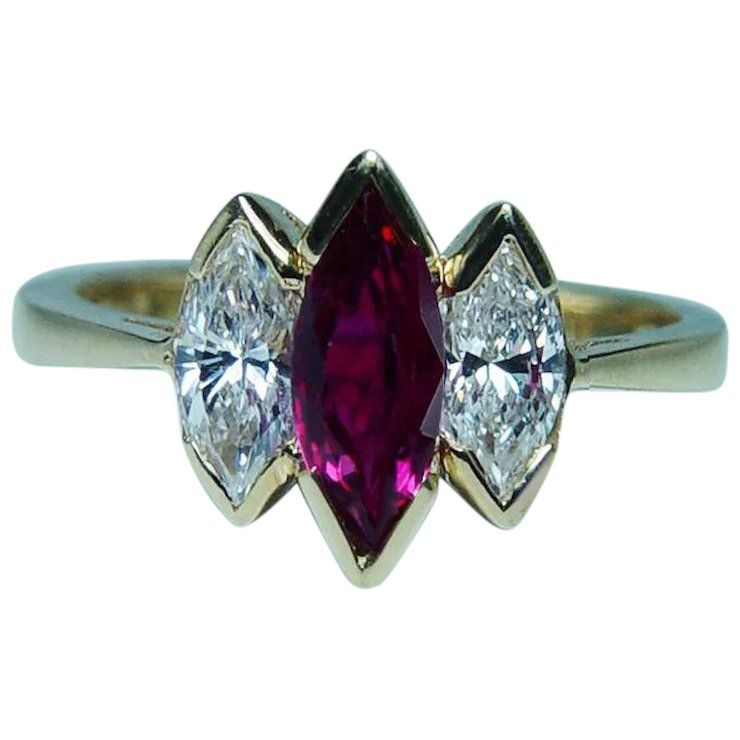 Vintage Burmese Ruby Marquise Diamond 18k Gold 3 Stone Ring Estate Real Gold Jewelry Jewelry Vintage Jewelry