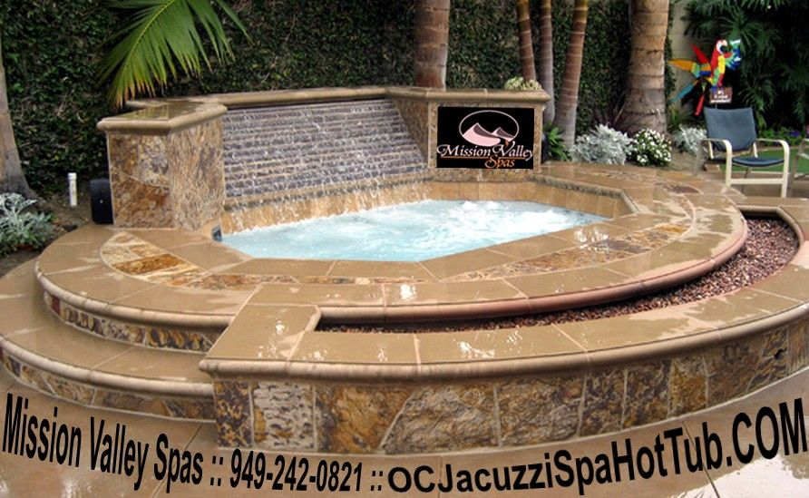 Stone And Tile Custom Above Ground Built In Spas In Garden