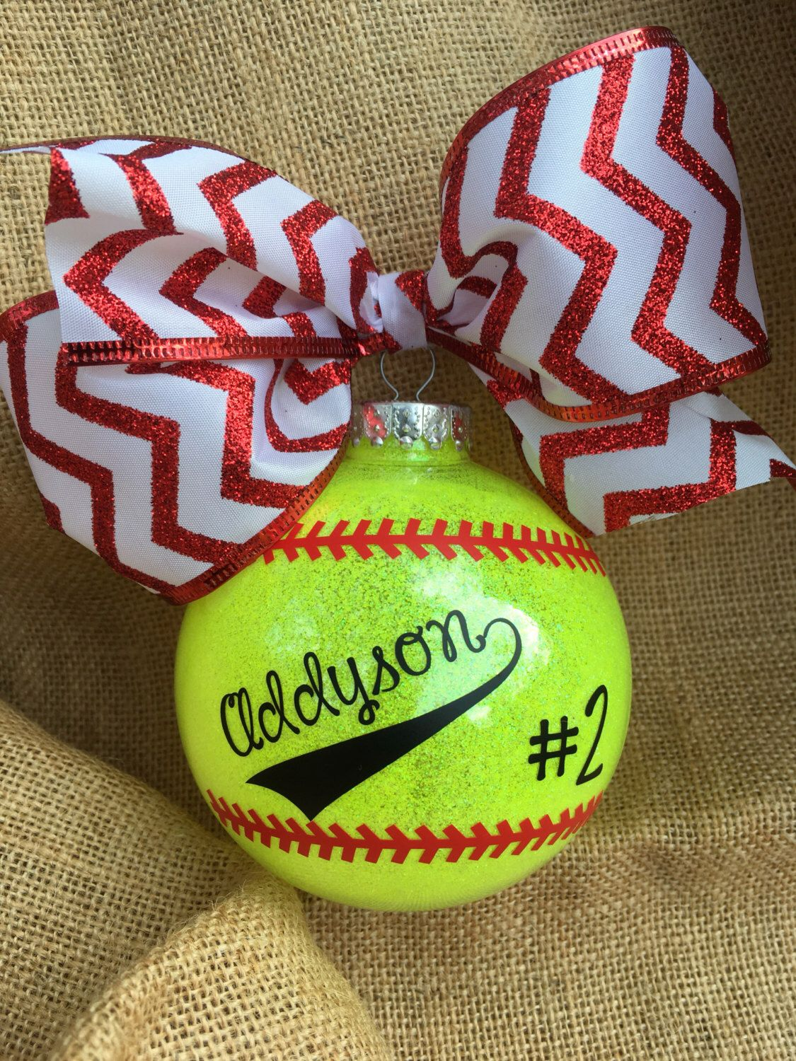 Personalized Neon Glitter Softball 4 Inch Shatterproof Ornament With Large Bow Softball Gift Gl Diy Christmas Gifts Softball Ornaments Softball Ornaments Diy