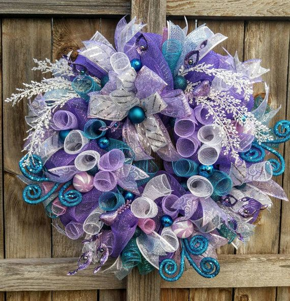 Red Turquoise Not Just For Holiday Decor: Purple Christmas Wreath, Teal Christmas Wreath, Turquoise