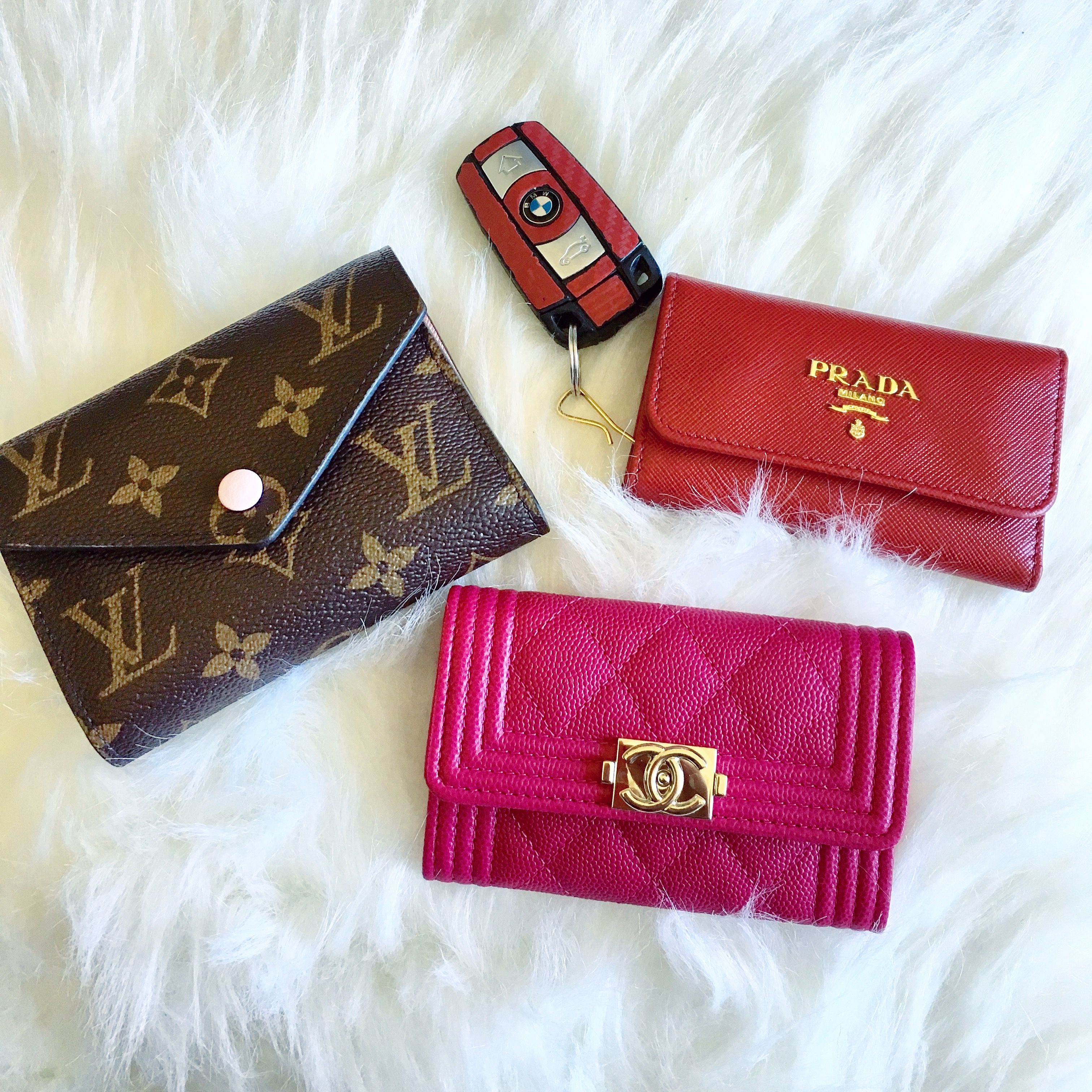 33978951db31 Small leather goods, Chanel boy wallet card case, Louis Vuitton victorine  wallet, Prada key holder