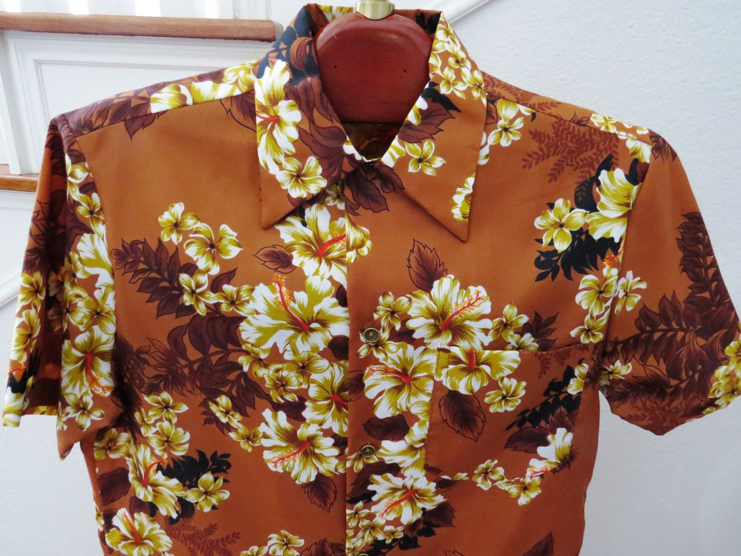 e76b0c3c 1960s Mod Hawaiian Aloha Shirt by Royal Hawaiian - Size M - Vintage Men's  Aloha Shirt - Brown Gold Hibiscus - Made in Hawaii - Collectible by ...