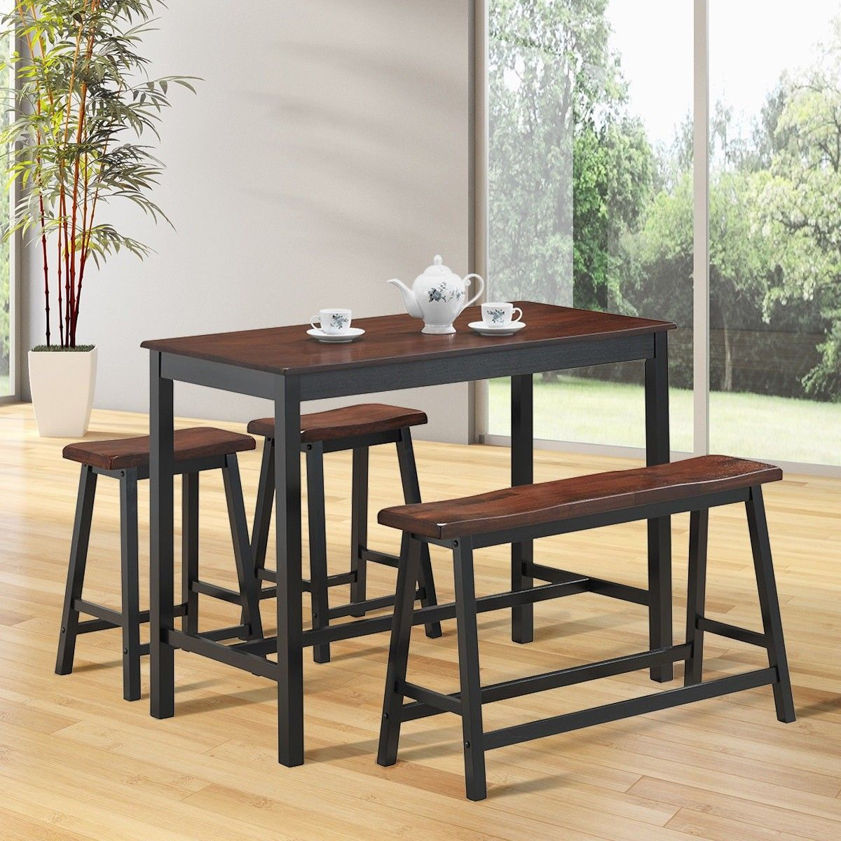 4 Pcs Solid Wood Counter Height Dining Table Set Wooden Dining