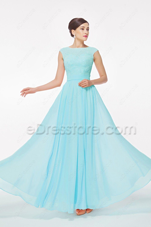 Light Blue Modest Prom Dress with Cap Sleeves | Pinterest | Modest ...